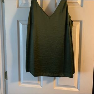 V-neck satin tank, size M Tall